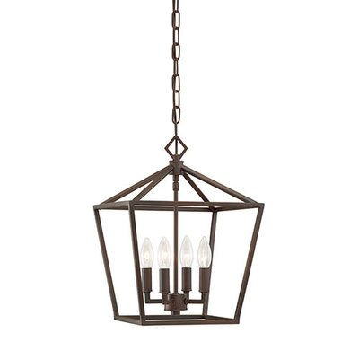 Varnum 4-Light Foyer Pendant Size: 18 H x 12 W x 12 D, Finish: Rubbed Bronze