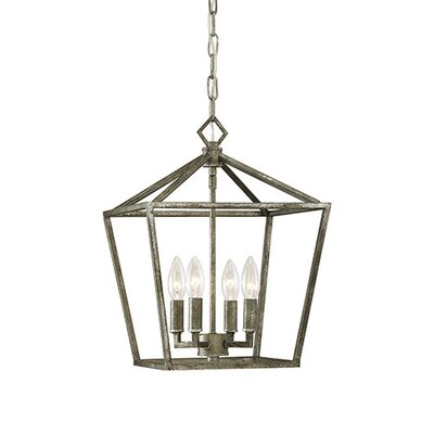 Varnum 4-Light Foyer Pendant Finish: Antique Silver, Size: 18 H x 12 W x 12 D
