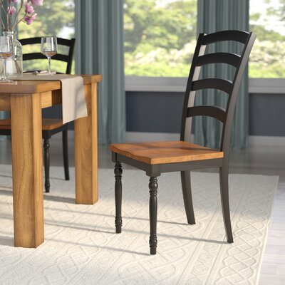 Courtdale Ladder Back Solid Wood Dining Chair (Set of 2) Finish: Almond / Ebony