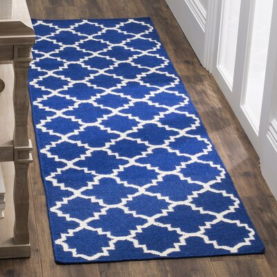 Danbury Dark Blue/Ivory Area Rug Rug Size: Runner 26 x 8