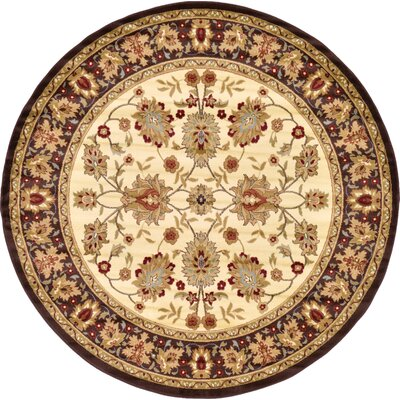 Fairmount Traditional Cream Area Rug Rug Size: Round 8