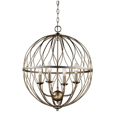 Brittain 4-Light Globe Pendant Finish: Antique Silver Leaf