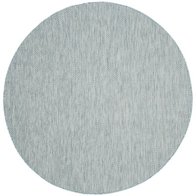 Adelia Aqua/Gray Area Rug Rug Size: Round 67
