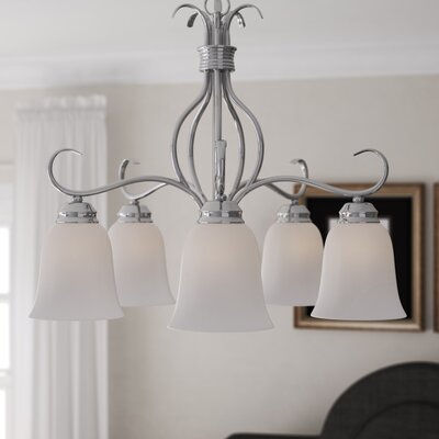 Birdsall 5-Light Shaded Chandelier Finish: Ice with Satin Nickel Shade