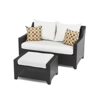 Northridge Loveseat and Ottoman with Cushions Fabric: Moroccan Cream