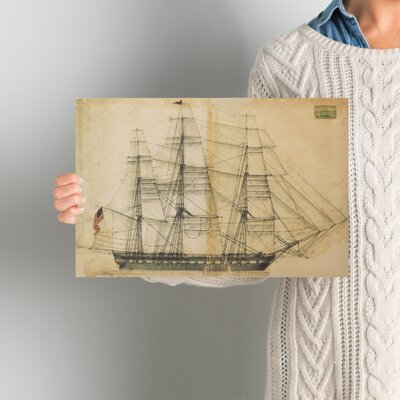 'USS Constitution Sail Plan 1817' Painting Print on Wrapped Canvas Size: 10