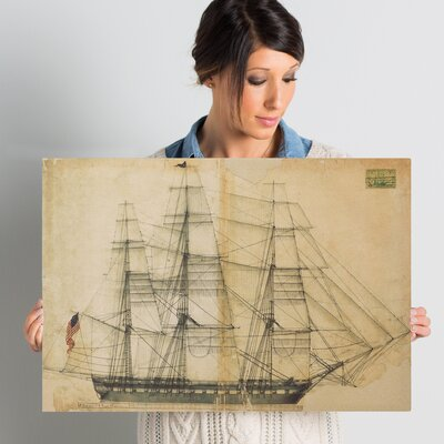 'USS Constitution Sail Plan 1817' Painting Print on Wrapped Canvas Size: 16