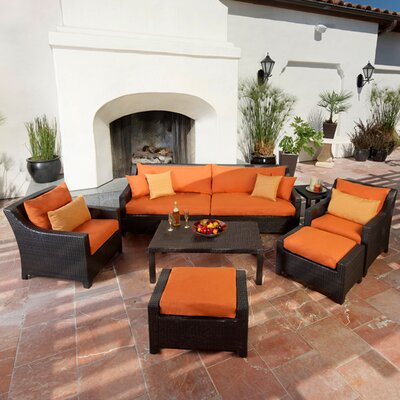 Northridge 8 Piece Deep Seating Group with Cushions Fabric: Tika Orange