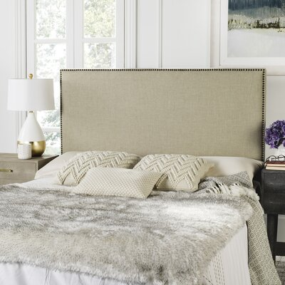 Farringdon Upholstered Wingback Headboard Size: Queen, Color: Hemp, Upholstery: Linen