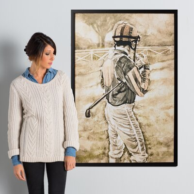 'The Jockey' Framed Painting Print on Wrapped Canvas Size: 45