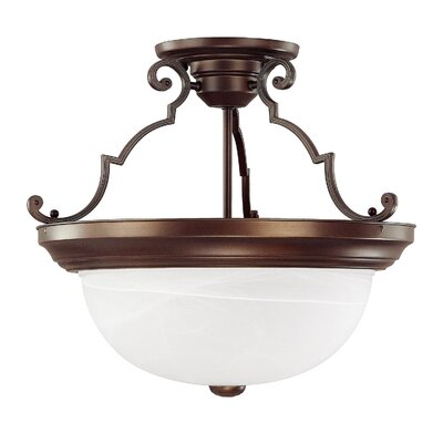 Wellington 3-Light Semi Flush Mount Shade Color: White Faux Alabaster