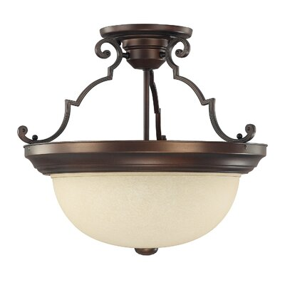 Wellington 3-Light Semi Flush Mount Shade Color: Mist Scavo