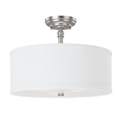 Thorpe 3-Light Semi Flush Mount Finish: Matte Nickel, Shade Color: White