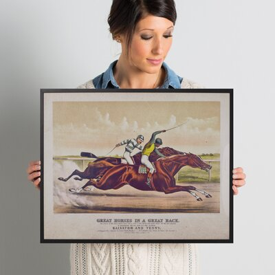 'The Great Race' Framed Graphic Art on Wrapped Canvas Size: 20