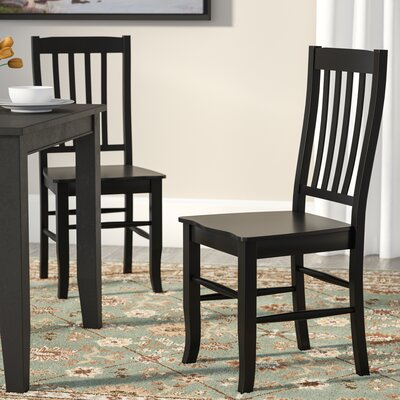 Courtdale Back Solid Wood Dining Chair (Set of 2) Finish: Ebony