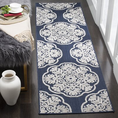 Rossville Navy/Cream Indoor/Outdoor Area Rug Rug Size: Runner 23 x 8