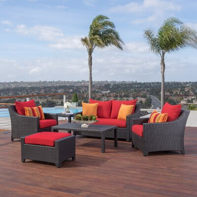 Northridge 6 Piece Deep Seating Group with Cushions Fabric: Sunset Red