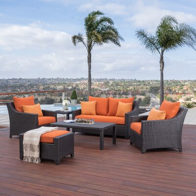 Northridge 6 Piece Deep Seating Group with Cushions Fabric: Tika Orange