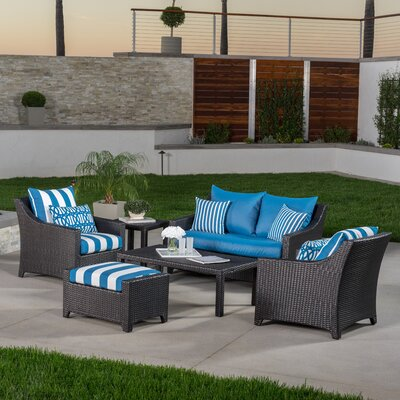Northridge 6 Piece Deep Seating Group with Cushions Fabric: Blue