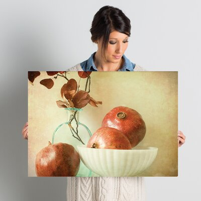 Pomegranates and Milk Glass by Olivia Joy Photographic Print on Wrapped Canvas Size: 18