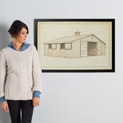 'Horse Stable II' Framed Painting Print on Wrapped Canvas Size: 24