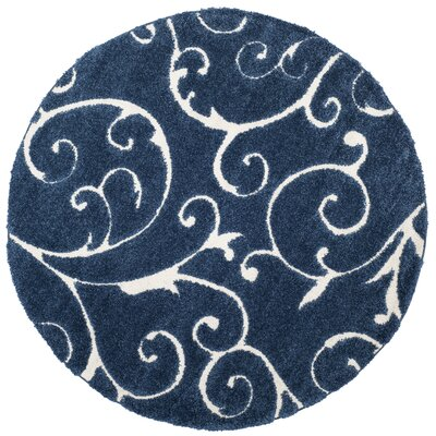 Alison Light Blue/Cream Area Rug Rug Size: Round 67