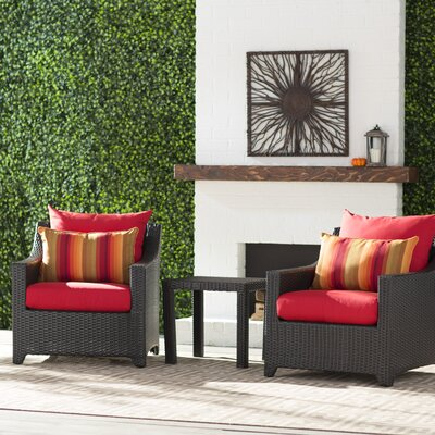Northridge 3 Piece Deep Seating Group with Cushion Fabric: Sunset Red