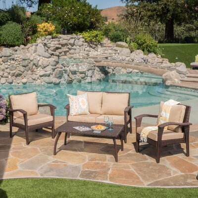 Bickford 4 Piece Deep Seating Group with Cushion Fabric: Brown