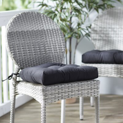 Outdoor Solid Twill Dining Chair Cushion Color: Black