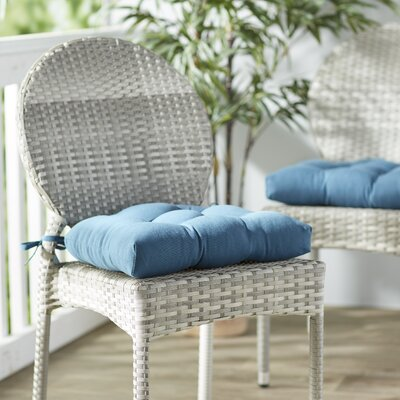 Outdoor Solid Twill Dining Chair Cushion Color: Indigo