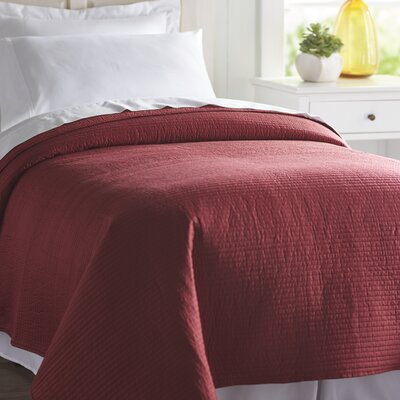 Spurling Hill Classic Cotton Quilt Size: Twin, Color: Burgundy Stripe