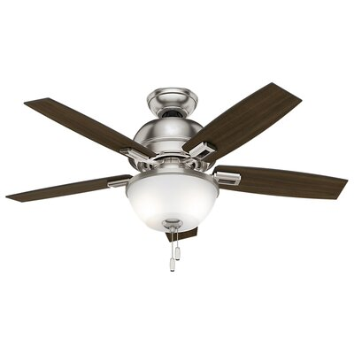 44 Donegan 5-Blade Ceiling Fan Finish: Brushed Nickel with Dark / Distressed Oak Blades