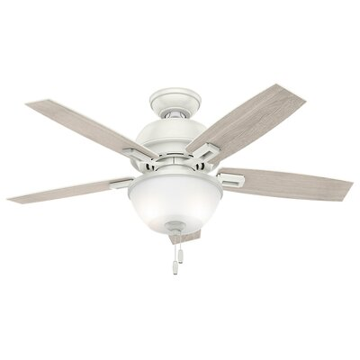 44 Donegan 5-Blade Ceiling Fan Finish: Fresh White with Fresh White / Light Gray Blades