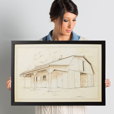 'Horse Stable' Framed Painting Print on Wrapped Canvas Size: 16