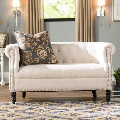 Huntingdon Chesterfield Loveseat Upholstery: Oatmeal