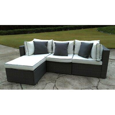 Burruss 4 Piece Sofa Set with Cushions Fabric: Cream / Gray