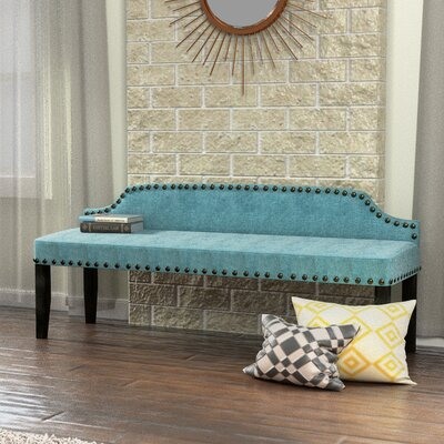 Millersburg Upholstered Bench Upholstery Color: Blue, Size: Large THRE5095 29848839