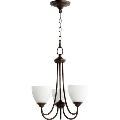 Hewlett 3-Light Shaded Chandelier in Oiled Bronze