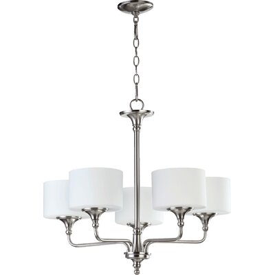 Heyworth 5-Light Shaded Chandelier Finish: Satin Nickel