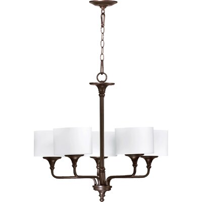 Heyworth 5-Light Shaded Chandelier Finish: Oiled Bronze