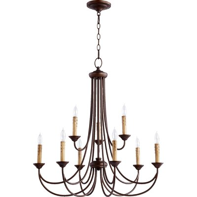 Hewlett 9-Light Candle-Style Chandelier Finish: Oiled Bronze