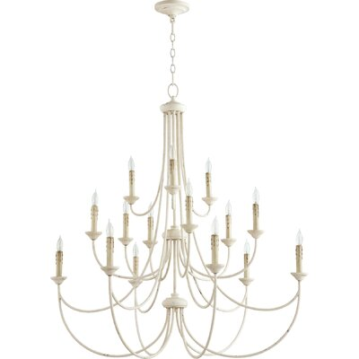 Hewlett 15-Light Candle-Style Chandelier Finish: Persian White