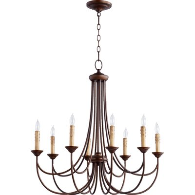 Hewlett 8-Light Candle-Style Chandelier Finish: Oiled Bronze