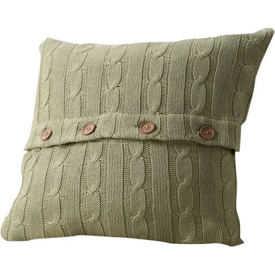 Harrietstown Cable-Knit 100% Cotton Throw Pillow Color: Olive