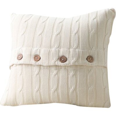Harrietstown Cable-Knit 100% Cotton Throw Pillow Color: Cream