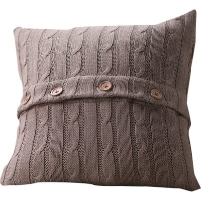 Harrietstown Cable-Knit 100% Cotton Throw Pillow Color: Mocha
