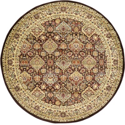 Fairmount Traditional Brown Area Rug Rug Size: Round 8