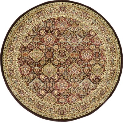 Fairmount Traditional Brown Area Rug Rug Size: Round 6