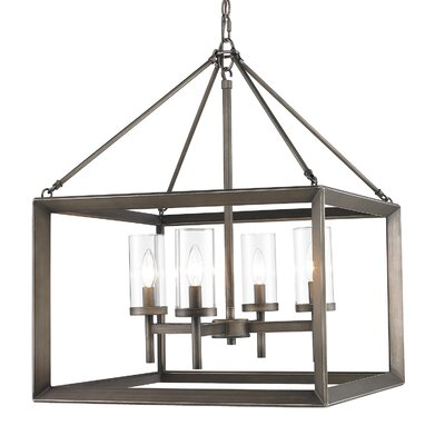 Thorne 4-Light Hanging Foyer Pendant Shade Color: Clear Glass, Finish: Gunmetal Bronze