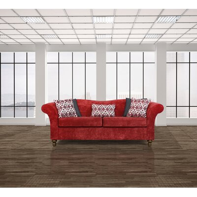 Conners Sofa Upholstery: Heath Scarlet / Turismo Black / Hilton Crimson